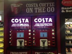 Costa Express at Leigh Delamere petrol station.